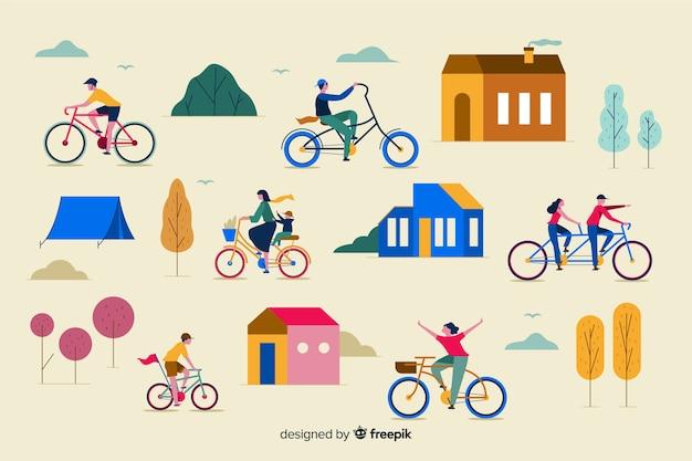 Personas montando en bicicleta por el parque vector gratuito