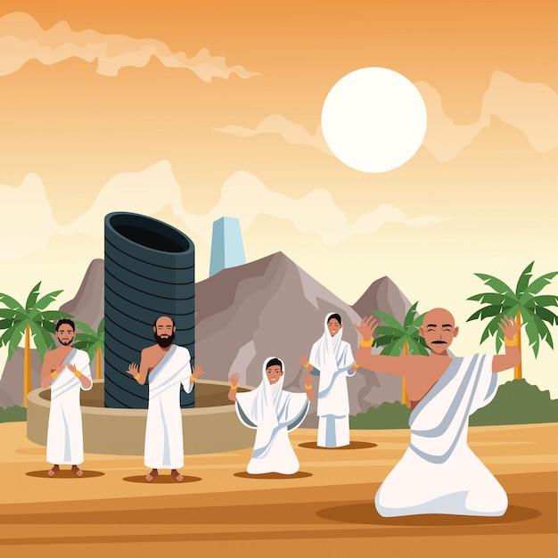 Las personas musulmanas en hayy mabrur viajes celebración diseño ilustración vectorial Vector Premium