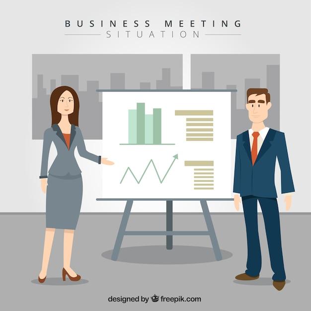 Personas de negocios con estadísticas vector gratuito