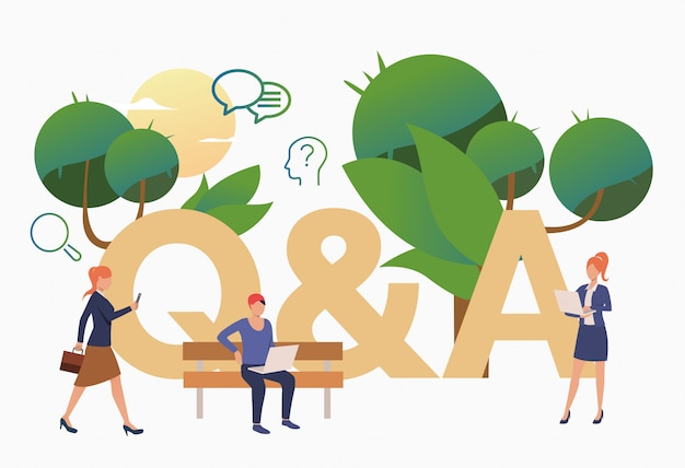 Personas obteniendo respuestas para preguntas problemáticas vector gratuito
