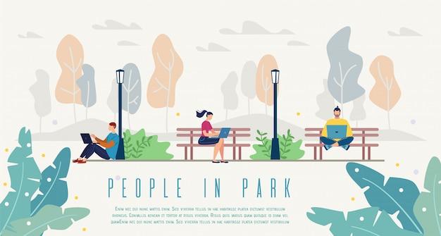Personas en parque de la ciudad Vector Premium