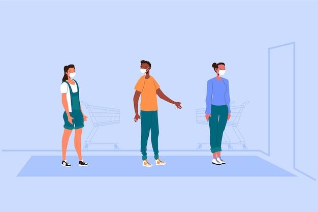Personas de pie en una cola de la tienda vector gratuito