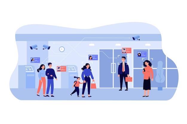 Personas de pie en el vestíbulo del banco mientras las cámaras de vigilancia escanean rostros y muestran datos personales. Vector Premium