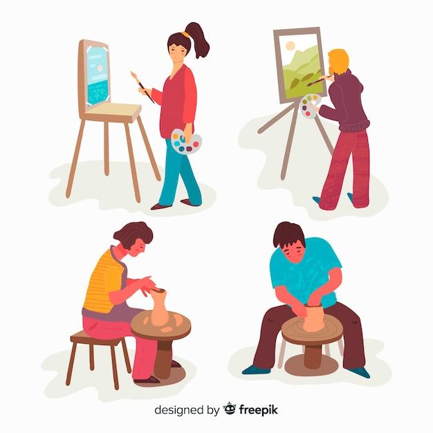 Personas pintando vector gratuito