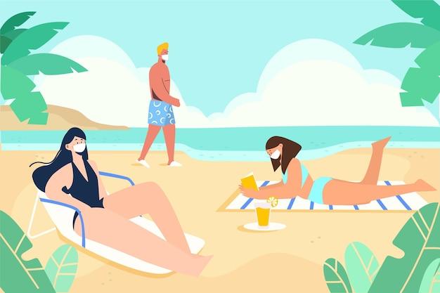 Personas en la playa con mascarillas vector gratuito