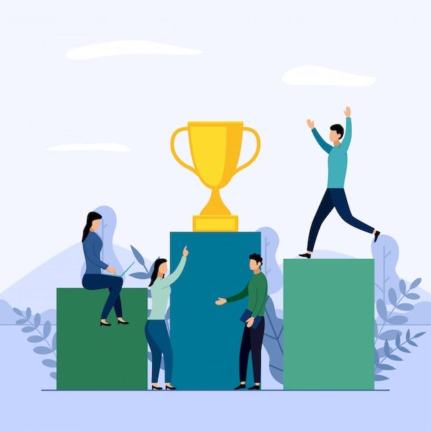 Personas en un podio con un trofeo Vector Premium