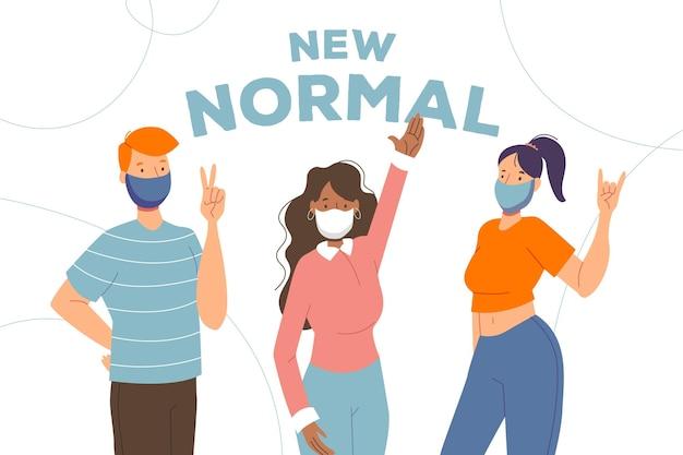 Personas positivas frente a la nueva normalidad Vector Premium