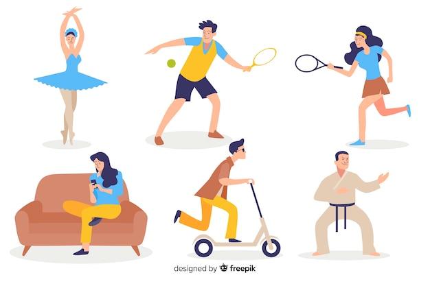 Personas practicando deporte vector gratuito