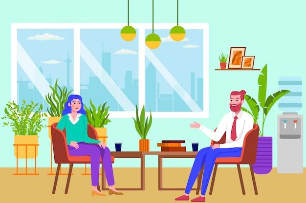 Personas de psicoterapia, psicólogo consulta ilustración de mujer. médico que trata a pacientes con problemas de salud mental o de comportamiento. ayuda psicológica al trastorno emocional. Vector Premium