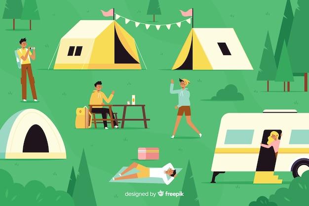 Personas que acampan con carros y carpas vector gratuito