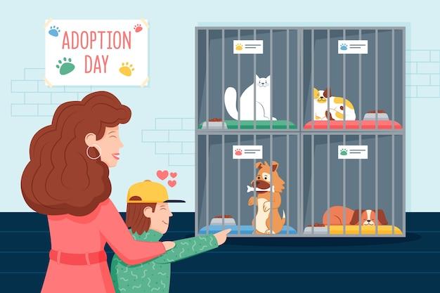 Las personas que adoptan una mascota vector gratuito