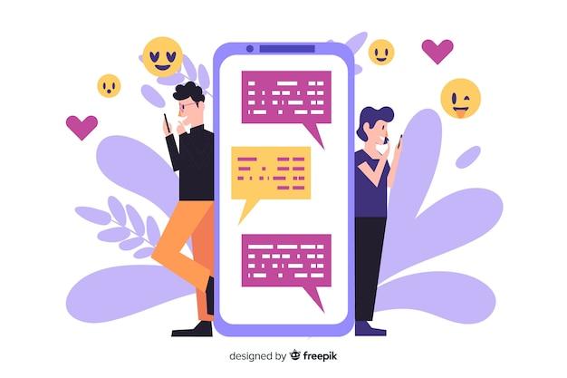 Personas que buscan amor en la aplicación de citas vector gratuito
