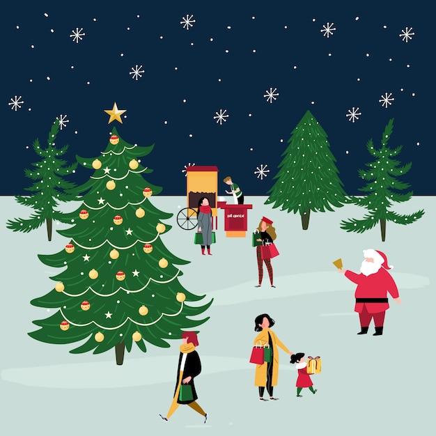 Personas que compran regalos de navidad en invierno vector gratuito