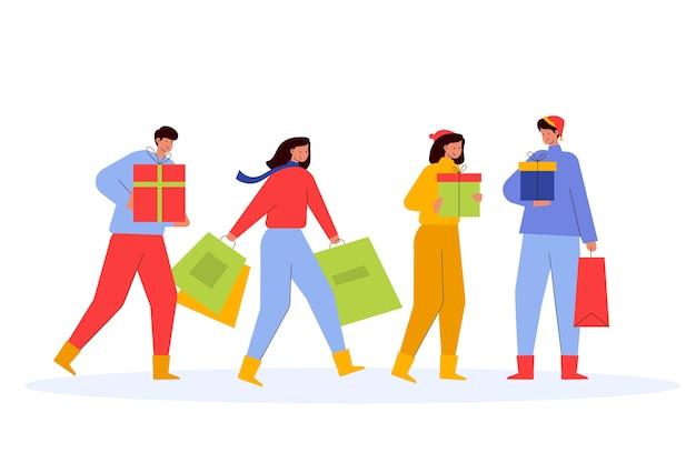 Personas que compran regalos de navidad juntos vector gratuito