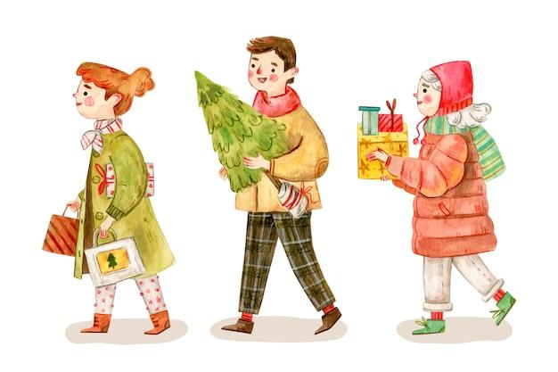 Personas que compran regalos de navidad vector gratuito
