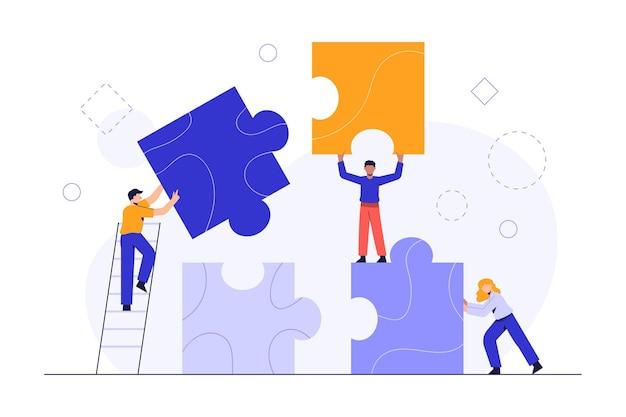 Personas que conectan elementos de rompecabezas. concepto de negocio. metáfora del equipo. trabajo en equipo empresarial con piezas vector gratuito