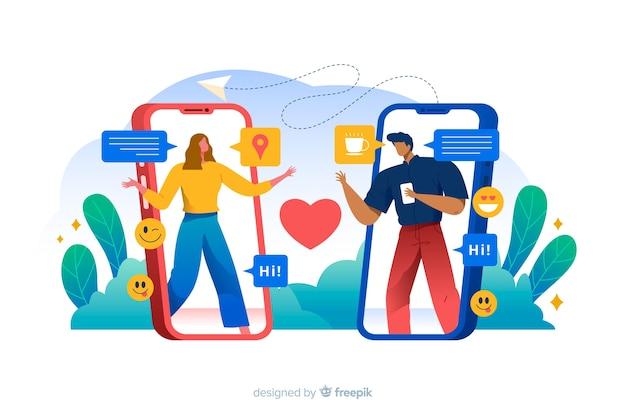 Personas que se conectan a través de la ilustración del concepto de aplicación de citas vector gratuito