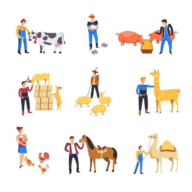 Las personas que crían animales de ganado. hombre y mujer campesinos alimentan vacas, conejos o cerdos y ovejas o cabras con lama Vector Premium