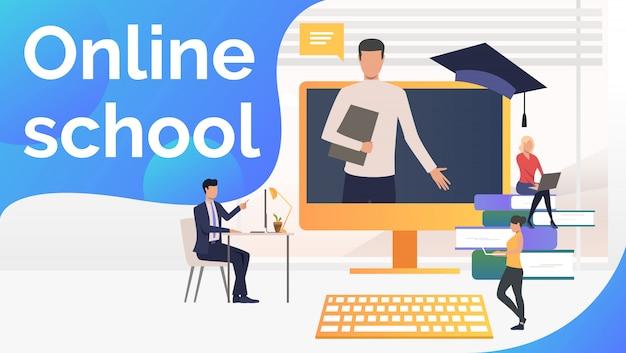 Personas que estudian en la escuela en línea, libros de texto y maestros. vector gratuito