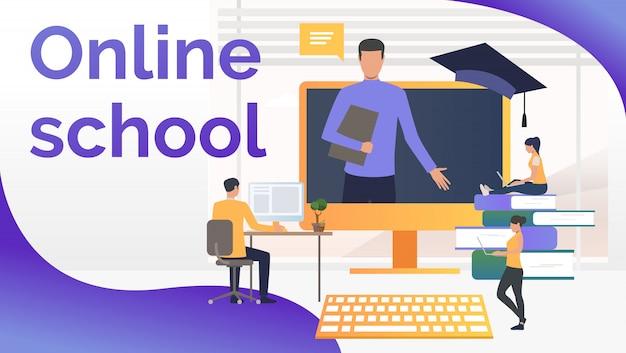 Personas que estudian en la escuela en línea y profesor en la pantalla de la computadora vector gratuito