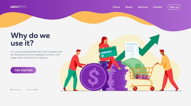Personas que invierten su dinero en una plantilla de página de destino de fondos de riesgo vector gratuito
