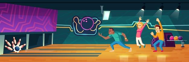 Las personas que juegan a los bolos en el club lanzando bolas a lo largo de los callejones para golpear alfileres ilustración de dibujos animados vector gratuito