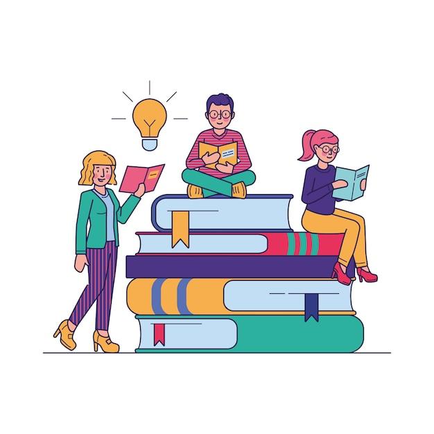 Personas que leen libros para estudiar ilustración vectorial vector gratuito