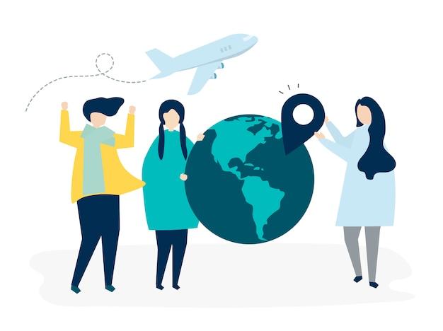 Personas que llevan diferentes iconos relacionados con los viajes. vector gratuito