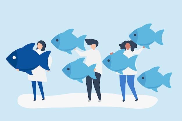 Personas que llevan iconos de peces en concepto de liderazgo vector gratuito
