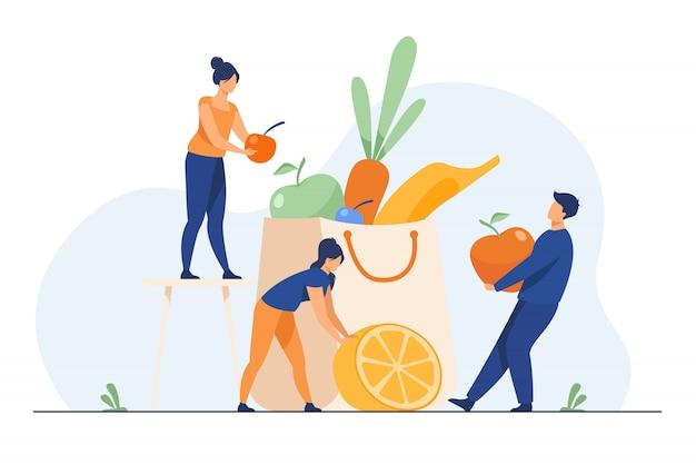 Personas que mantienen una dieta saludable | Vector Gratis