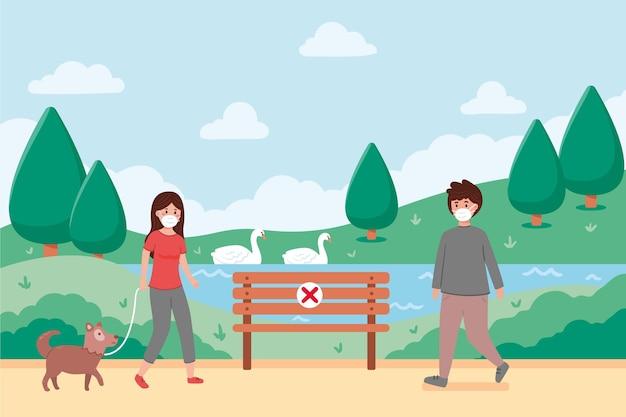 Personas que mantienen distanciamiento social en el parque vector gratuito