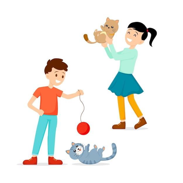 Personas que pasan tiempo y juegan con gatos. vector gratuito