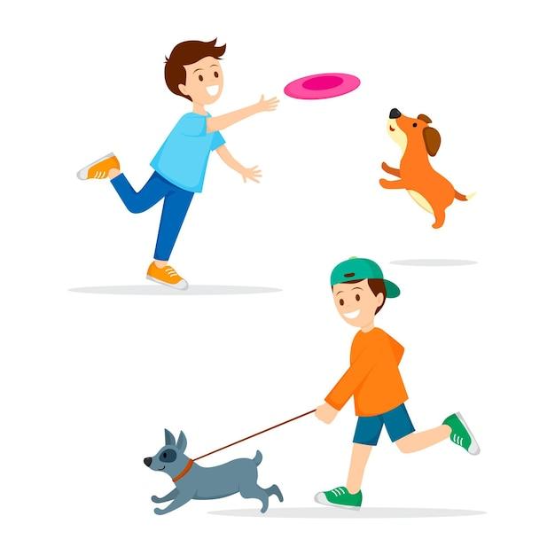 Personas que pasan tiempo y juegan con perros. vector gratuito
