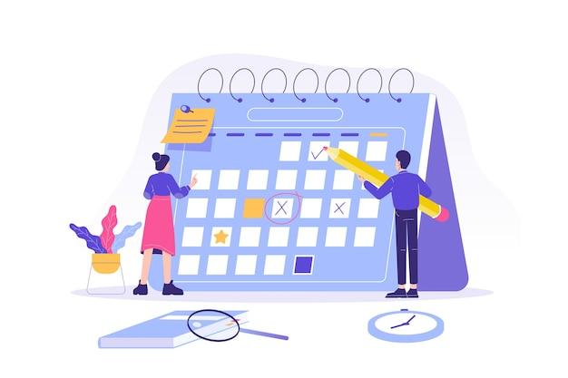 Personas que planifican el horario en un calendario. Vector Premium