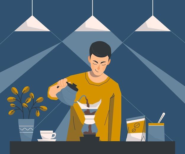 Personas que preparan diferentes métodos de café. Vector Premium