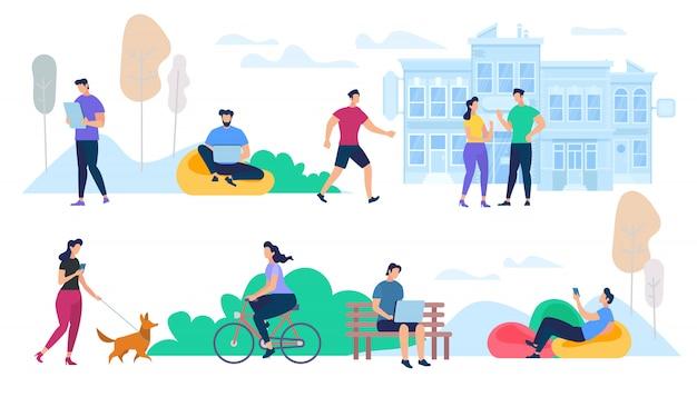 Personas que realizan actividades al aire libre en la ciudad de verano Vector Premium