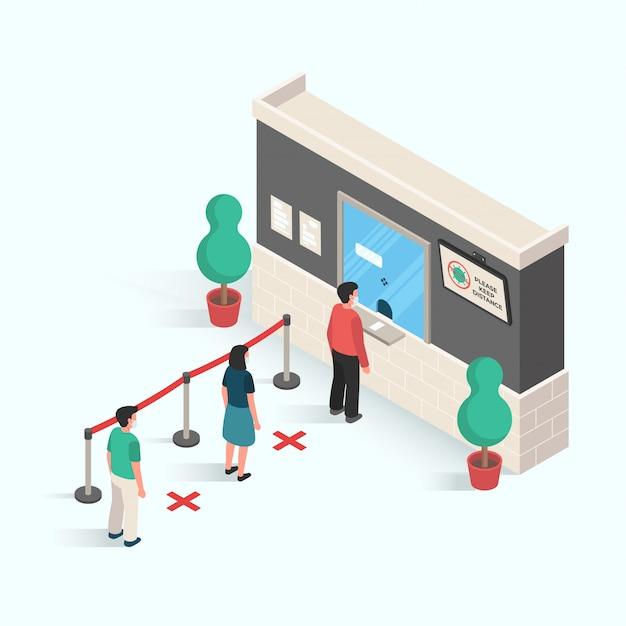 Personas que realizan distancias en áreas públicas para prevenir la infección de virus y enfermedades en el diseño isométrico Vector Premium