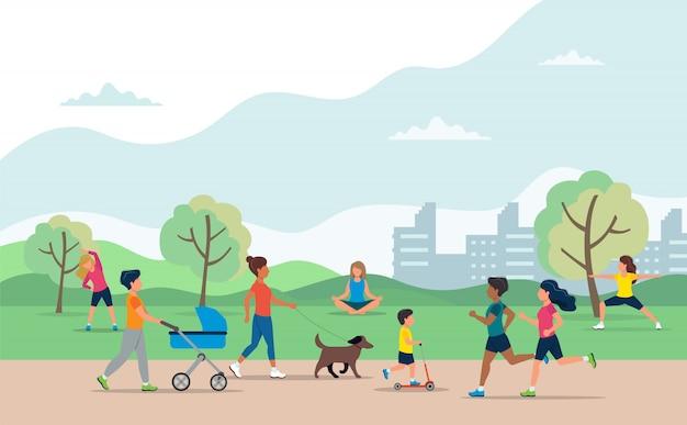 Personas que realizan diversas actividades al aire libre en el parque. Vector Premium
