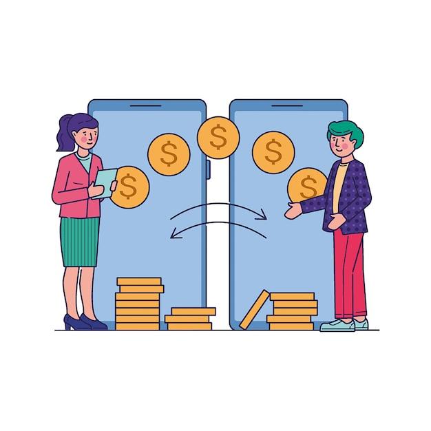 Personas que realizan transacciones financieras a través de la aplicación móvil vector gratuito