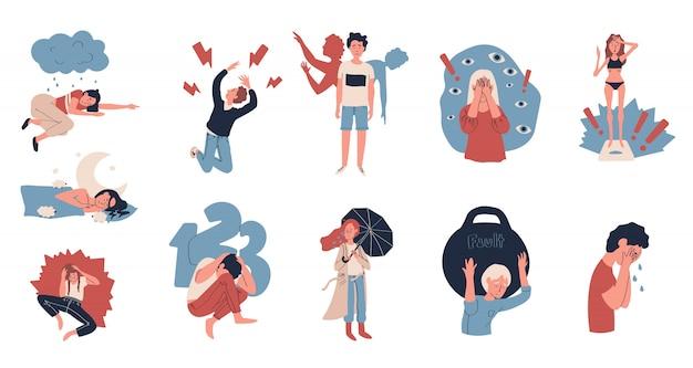 Personas que sufren de depresión y estrés, ilustración Vector Premium