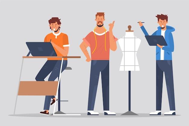 Personas que trabajan en diseño con maniquí vector gratuito