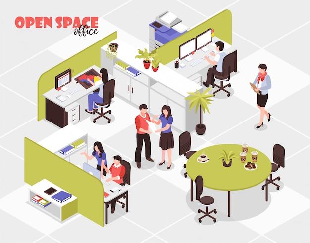Las personas que trabajan en la gran oficina de repuestos abiertos en la agencia de publicidad isométrica 3d vector gratuito