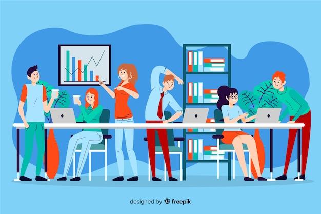 Personas que trabajan juntas ilustradas vector gratuito
