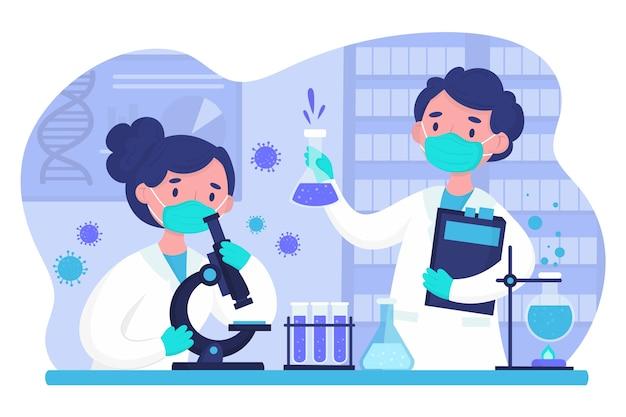 Personas que trabajan juntas en un laboratorio de ciencias. Vector Premium