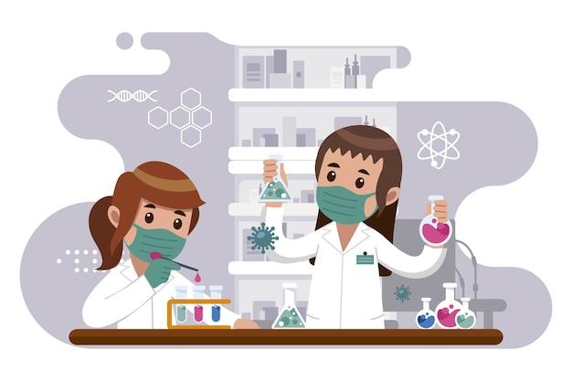 Personas que trabajan en el laboratorio de ciencias. Vector Premium