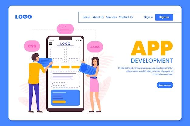Personas que trabajan en la página de destino del desarrollo de aplicaciones. vector gratuito
