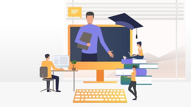 Personas que usan computadoras y estudian en la escuela en línea vector gratuito