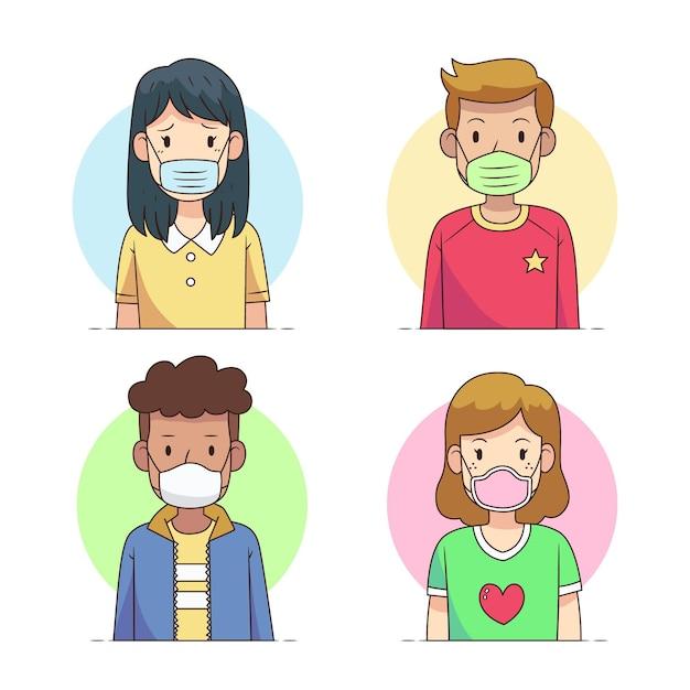 Personas que usan diferentes tipos de mascarillas vector gratuito