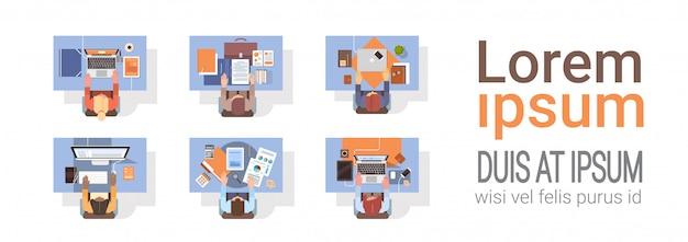 Personas que utilizan computadoras empresarios lugar de trabajo escritorio vista en ángulo superior computadora portátil trabajo en equipo Vector Premium