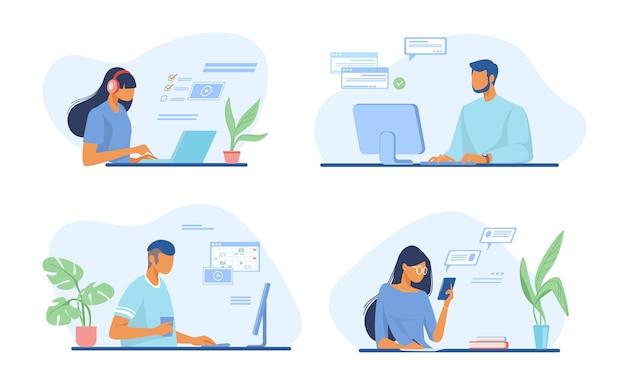 Personas que utilizan el conjunto de aplicaciones en línea vector gratuito